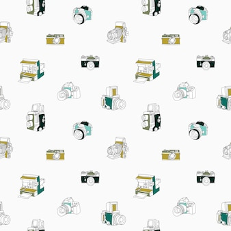 Trendy seamless pattern with hand drawn half colored vintage and modern photo cameras