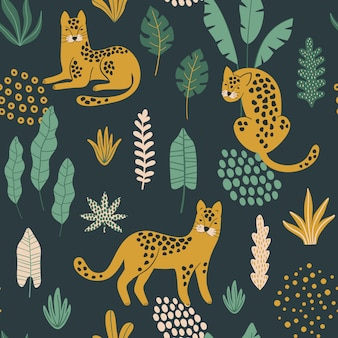 Trendy seamless pattern with leopards.