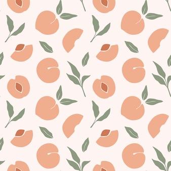 桃とトレンディなシームレスパターン。