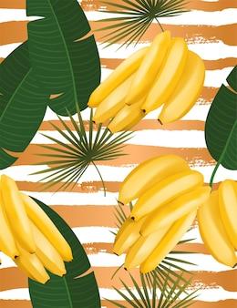 Модный бесшовный образец с реалистичной банановой гроздью и тропическими листьями, реалистичная векторная иллюстрация