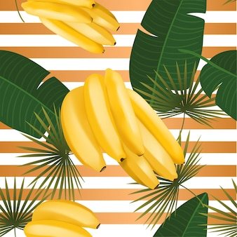 Trendy seamless pattern with realistic banana bunch and tropical leaves vector realistic illustration