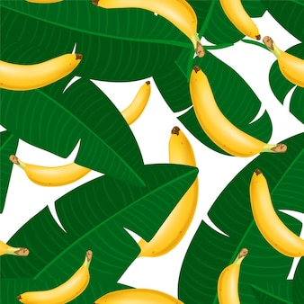 Trendy seamless pattern with realistic banana bunch and tropical leaves