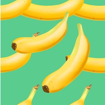 Модный бесшовный образец с реалистичной банановой связкой векторной реалистичной иллюстрацией