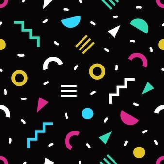 黒の背景に小さな明るい色の幾何学的形状と線でトレンディなシームレスパターン