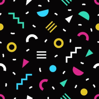 Trendy seamless pattern with small bright colored geometric shapes and lines on black background