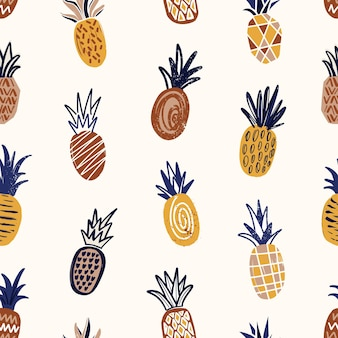 Trendy seamless pattern with textured pineapples on light background