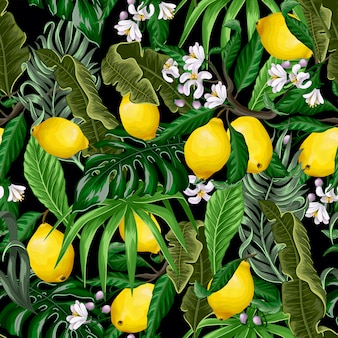 Trendy seamless pattern with tropical leaves and lemons.