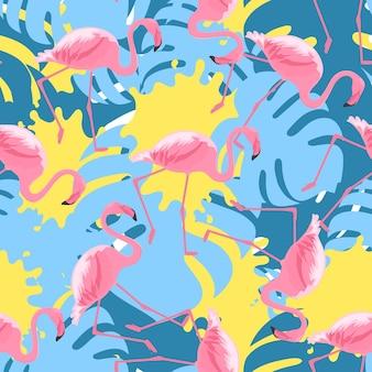 열대 핑크 플라밍고와 몬스테라 잎이 있는 세련된 매끄러운 패턴입니다. 페인트 얼룩이 있는 이국적인 정글 배경.