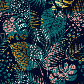 Trendy seamless pattern with tropical plants, animal prints and hand drawn textures.