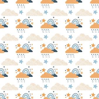 虹の雨が降る雲と星からのトレンディなシームレスな繰り返しスカンジナビアのパターン