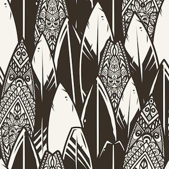 Модные бесшовные модели серфинга. бесконечная текстура с доской для серфинга или доской для обоев