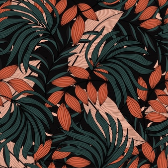 Trendy seamless tropical pattern with beige and green leaves