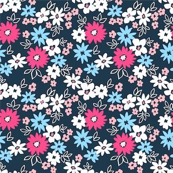 Модные бесшовные векторные цветочный узор винтаж печати розовые белые и синие цветы синий фон