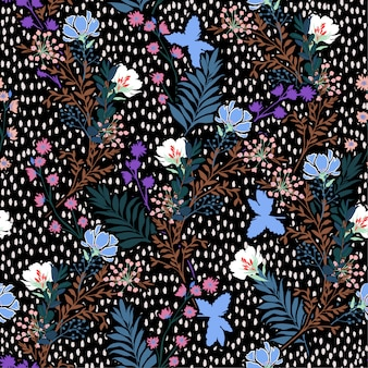 トレンディなシームレスパターン手のベクトルイラストには、草原の花と葉が描かれています。