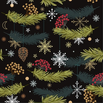 Trendy  seamless vector pattern with leaves flowers  for christmas designs,