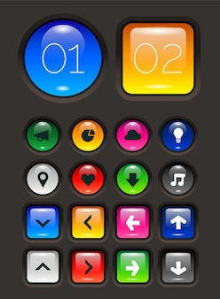 Trendy set of glossy neumorphic 3d buttons, on dark background