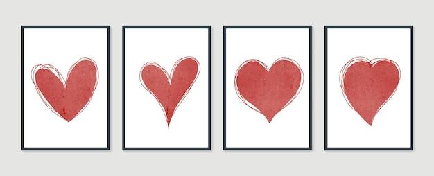 추상 심장 손으로 그린 구성의 유행 집합입니다. 발렌타인 데이 포스터. 프리미엄 벡터