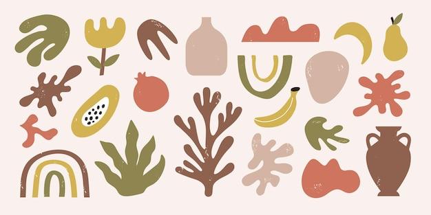 抽象的な有機的な形のトレンディなセットは、トロピカルフルーツや藻類をオブジェクトします