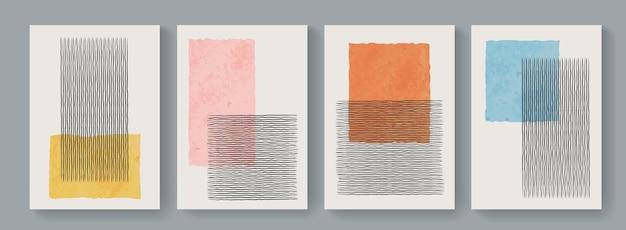 기하학적 미니멀리즘 중반 세기 현대 포스터의 트렌디한 세트입니다. 추상 boho 스타일 배경입니다. 귀여운 다채로운 현대 미술 최소한의 플래카드.