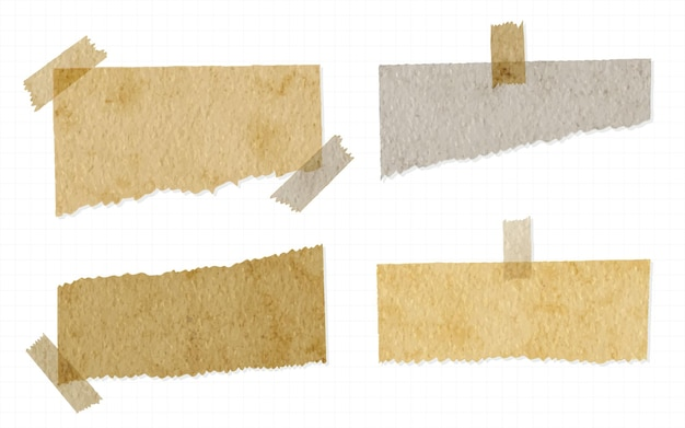 Trendy set of torn paper with washi tape isolated watercolor hand painted