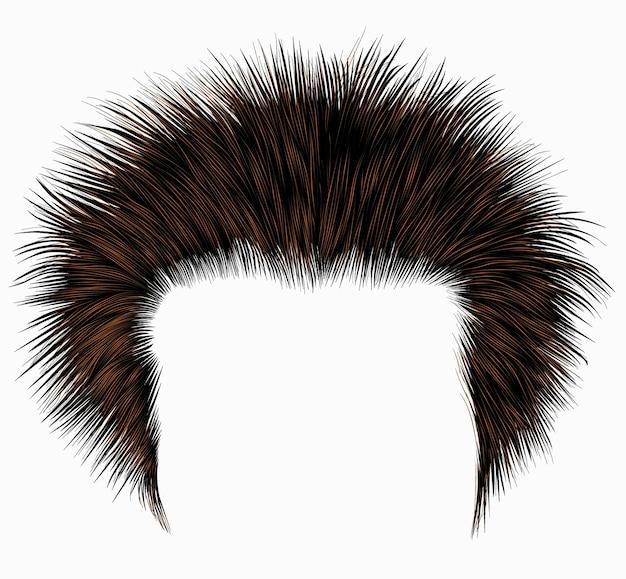 У модного лохматого мужчины волосы коричневого цвета. прическа.