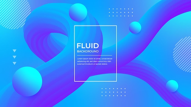 Trendy shape blue fluid background