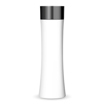 Trendy shape cosmetics bottle mockup in white color with black lid.