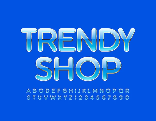 Trendy shop blue and golden glossy font elite alphabet letters and numbers set
