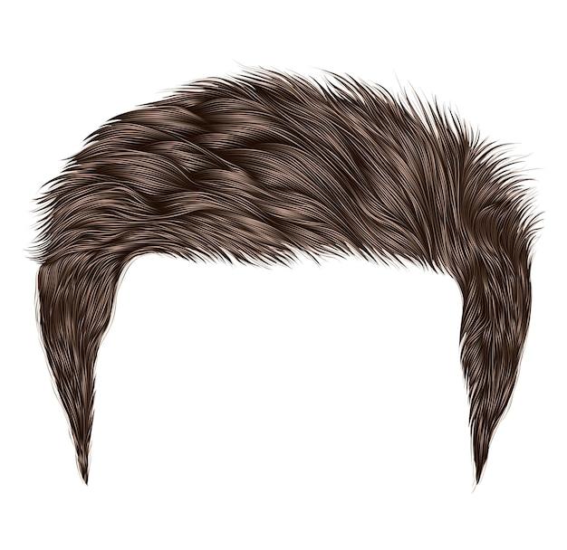 В моде короткие волосы с бахромой. темно-коричневый цвет. реалистичный 3d.