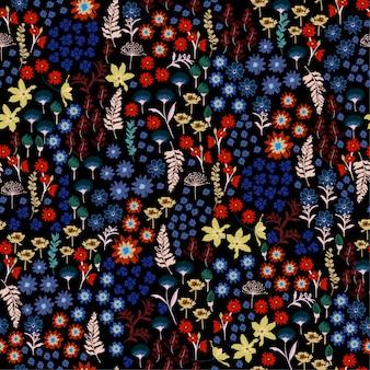 野生の花のパターンの流行の小さなカラフルな自由