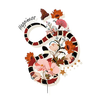 Trendy snake with flowers graphic vector