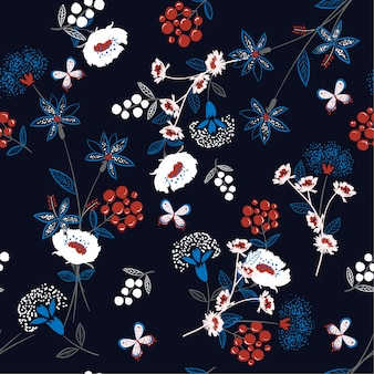 Trendy softy and gentle floral seamless pattern