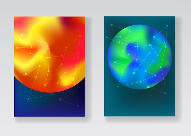Trendy space backgrounds with gradient planets sun, earth, mars and white connected stars