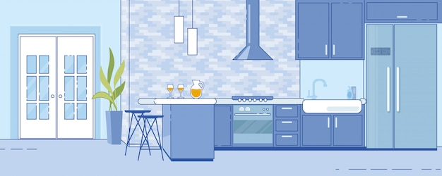 Модная просторная домашняя кухня в плоском стиле