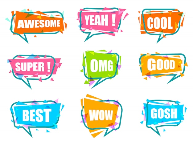 Trendy speech bubble isolated colorful set