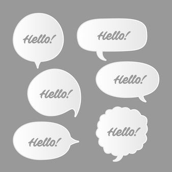 Trendy speech bubbles set in flat design with messages