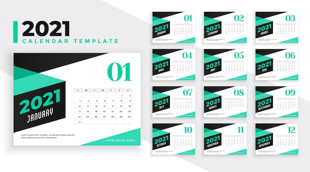 Trendy style 2021 calendar design template in turquoise color