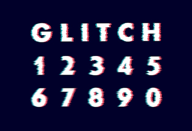 Trendy style distorted glitch typeface. letters and numbers  illustration alphabet