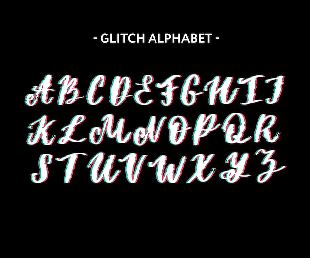 Trendy style distorted glitch typeface. letters and numbers, vector.