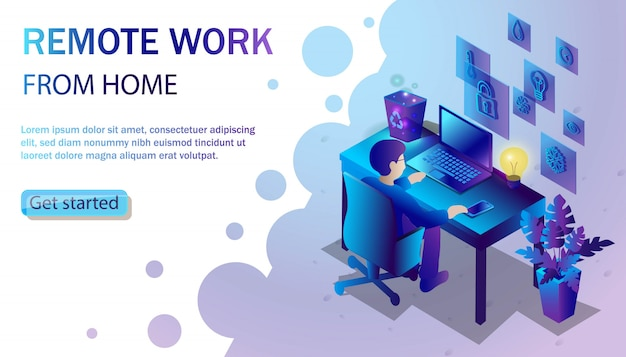 Trendy  style illustration with man working at the desk with laptop. freelance and remote work from home concept.