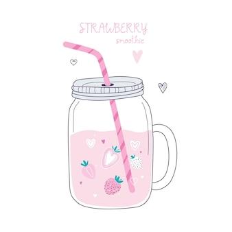 항아리에 유행 스타일 딸기 스무디. 파스텔 컬러 흰색 배경에 그림입니다.