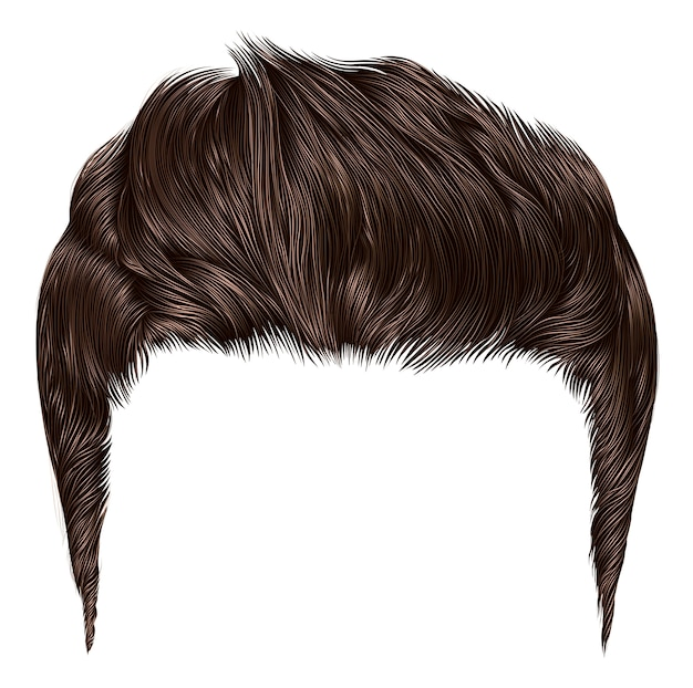Trendy stylish man hairs brown colour. high hair styling .fashion beauty style. realistic  graphic