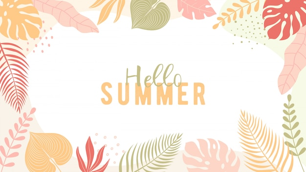 Trendy summer banner in simple flat style with copy space for text.