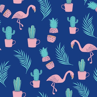 Trendy summer season seamless pattern
