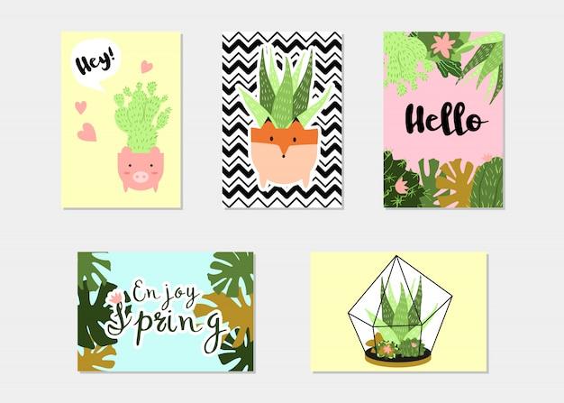 Set di banner di estate tropicale o floreale alla moda