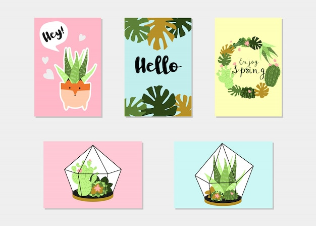 Trendy summer tropical or floral banner set
