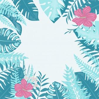 トレンディな夏の熱帯の葉と花。ベクトルのデザイン。