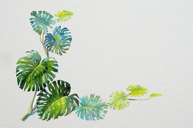 종이에 몬스테라 수채화 그림의 최신 유행 여름 열 대 잎