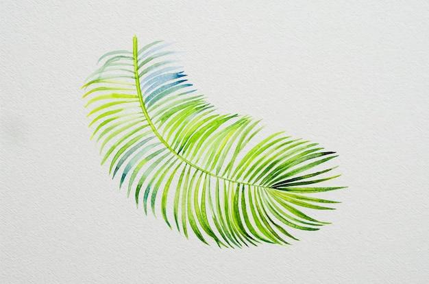 종이에 열대 잎에 야자수 수채화 그림의 트렌디한 여름 열대 잎