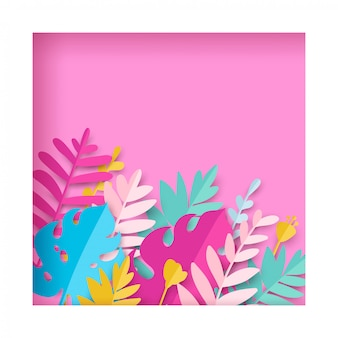 Trendy summer tropical leaves in paper cut style.